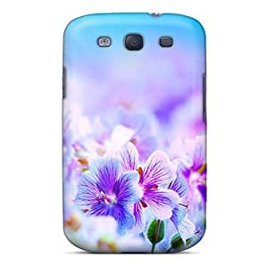 Galaxy S3 Case Cover - Slim Fit Tpu Protector Shock Absorbent Case (purple Flowers)