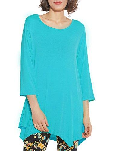 BELAROI Women 3/4 Sleeve Swing Tunic Tops Plus Size T Shirt (M, Lake Blue)