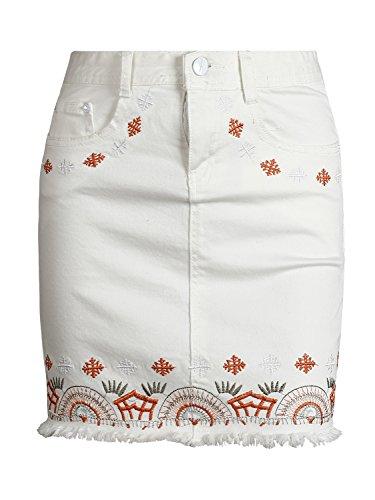 Simplee Apparel Damen Mini Rock Retro High Waist Bleistift Stickerei Denim  Kurz Röcke Skirt mit Taschen 2 Farben  Amazon.de  Bekleidung 932b9365f1
