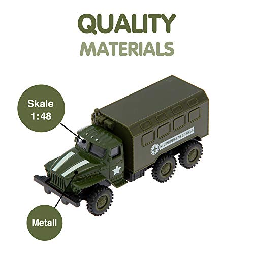 (AutoGrad Push Go Friction Powered Car Toy | Inertia Military Truck Inertial Van)