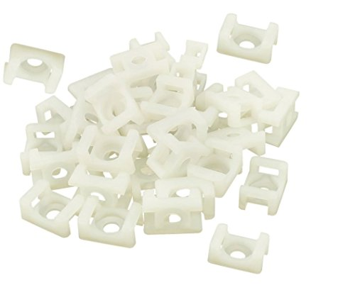 (iExcell 100 Pcs White 4.5mm Cable Tie Mount Wire Buddle Saddle Holder)