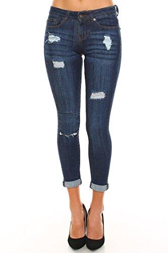 Vialumi Women's Low Rise Distressed Capri Skinny Jeans Dark Blue - Capri Pants Low Rise