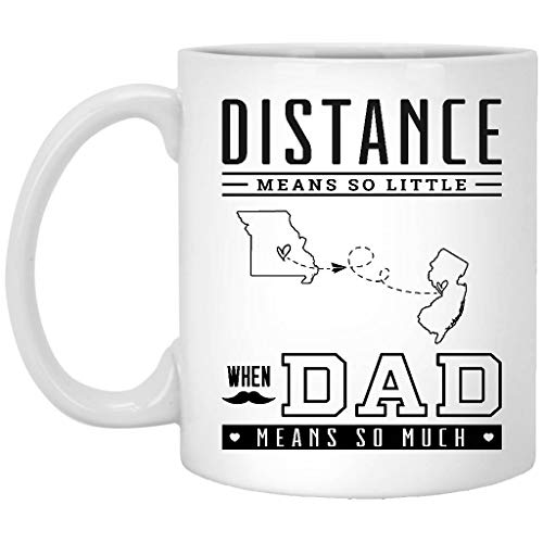 Missouri Jersey Material - Father's day Gifts From Daughter Or Son Long Distance Missouri New Jersey - Means So Little, When Dad Means So Much MO NJ - Birthday Gift Idea For Papa, Grandpa, Mug 11 oz