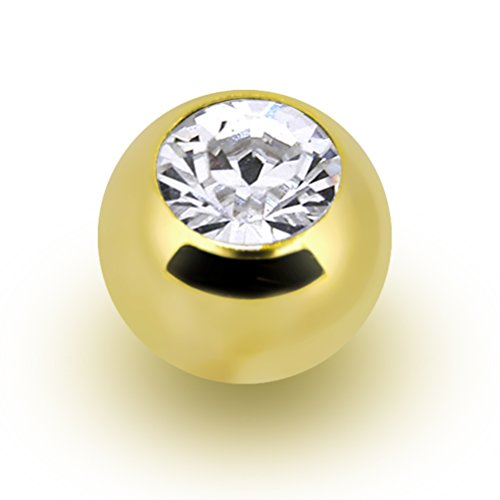 14k Yellow Gold Round Cubic Zirconia 4.5mm Replacement Ball (Cubic Zirconia Replacement Ball)