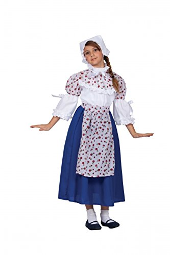 Settler English Costume (RG Costumes Colonial Beauty Costume, Blue/White/Yellow,)