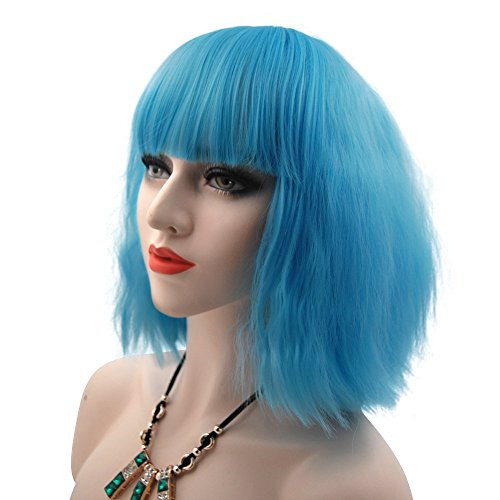 [eNilecor Women Short Bob Fluffy Hair Full Wigs with Bangs Heat Resistant Kinky Straight Custom Cosplay Party Wigs (Light] (Blue Wigs For Women)