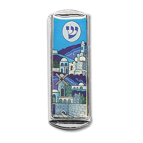 My Daily Styles Car Mezuzah - with The Traveler's Prayer and Jerusalem Design