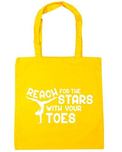 HippoWarehouse Alcance para las estrellas con los dedos gimnasia gimnasio playa bolsa de la compra bolsa 42cm x38cm, 10litros, rojo clásico (rojo) - 21429-TOTE-Classic Red amarillo