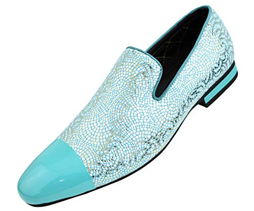 Amali Men's Metallic Lace Patterned Embossed Slip On Loafer with Matching Tip and Heal Dress Shoe, Style - Mens Ons Slip Patterned