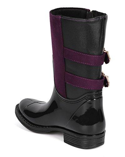 Paraurti Dk43 Donna Misti Media Due Fibbia Cinturino Zip Stivali Da Equitazione - Nero / Viola