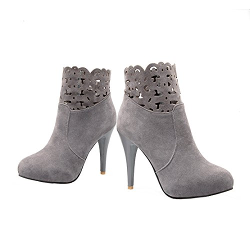 Suede AIYOUMEI Zipper Gray Winter Stiletto Women's Ankle Boots Autumn Heels Toe Side Round High C5qpFO5wZx