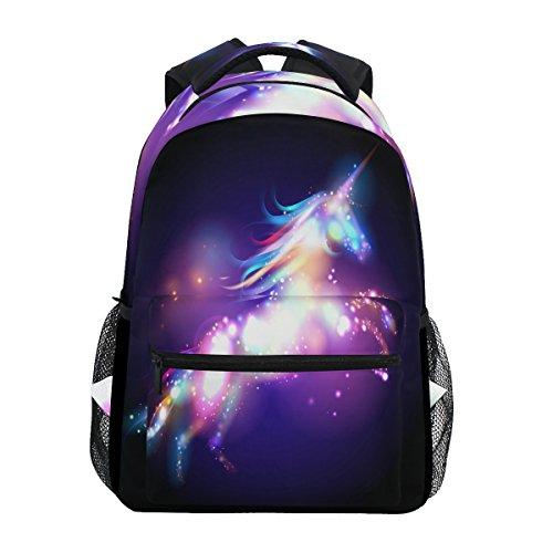 JSTEL Unicorn Magic With Stars School Backpacks For Girls Kids Elementary School Shoulder Bag Bookbag