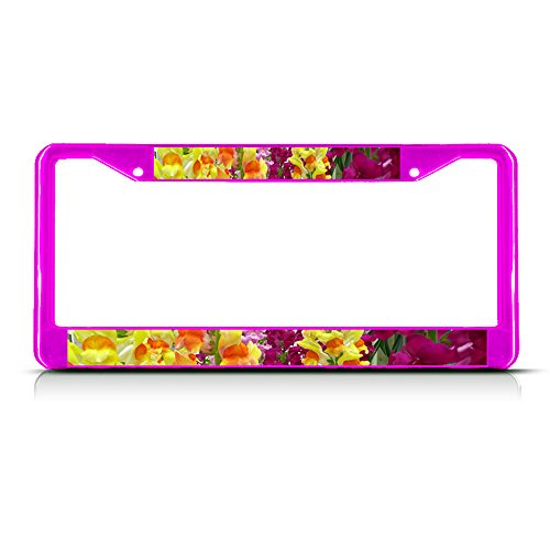 Metal License Plate Frame Solid Insert Snapdragon Flowers Car Auto Tag Holder - Hot Pink 2 Holes, Set of 2