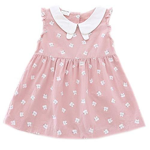 Niyage Baby Toddler Girls Cute Doll Collar Cat Prints Cotton Sleeveless Tunic Dress Pink 90