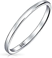 Simple Minimalist Thin Stackable 925 Sterling Silver Couples Wedding Band Ring For Men For Women 2MM