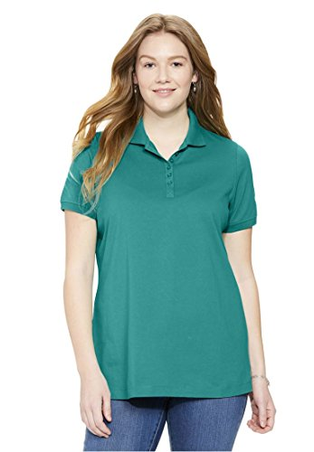 Womens Plus Size Top  Perfect Polo Short Sleeve T Shirt Brilliant Jade 6X
