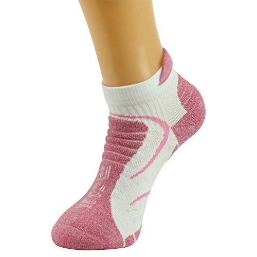 Facool Woman's CoolMax Mid Hiker Thick Padded Quarter Atheltic Socks Anti-Blister Pink 3 Pairs