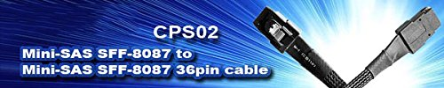 Silverstone SST-CPS02 0.5M Cable con blindaje Grueso Interno Mini SAS SFF8088 a SFF8088 36pin