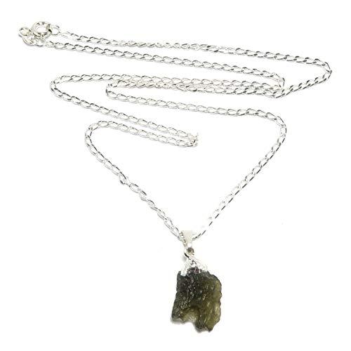 (SatinCrystals Moldavite Necklace Space Nugget Genuine High Vibration Meteorite Green Stone Sterling Silver Raw Gemstone B07 (30