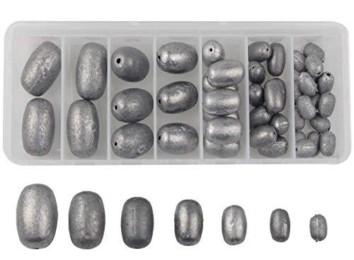JSHANMEI 42pcs/Box Egg Sinker Weight Kit Saltwater Fishing Sinker Olive Egg Bass Casting Bullet Weight ()