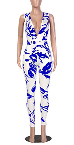 f32ae332973d Mr.Seven Womens Sleeveless Deep V-neck Floral Printed Long Pants Jumpsuits  Rompers