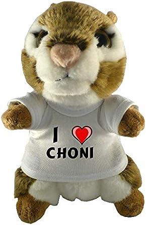 Ardilla americana de peluche (juguete) con Amo Choni en la camiseta