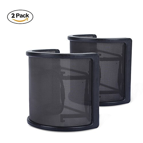 EZYKOO Microphone Pop Filter Studio Recording Mic Wind Screen Microphone Pop Shield with Metal Mesh and Dual Layer - 2 Pack ( Black )