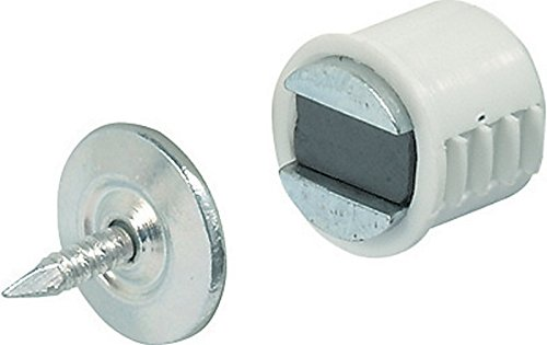 Magnetic Catch Mortice Type Plastic Catch and Chromed Steel Counterpiece - Finish - White City Deco Centre