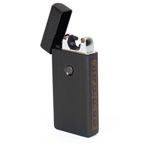 Kingpin LightsTM Black Electric Arc Lighter - Windproof Dual Arc Plasma Lighter - USB Rechargeable Dual Pulse Electronic Lighter - Flameless Plasma Beam -