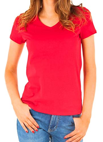 Tommy Hilfiger Womens V-Neck Solid Color Logo T-Shirt (X-Small, Bright Red) (Tommy Hilfiger Women Clearance)