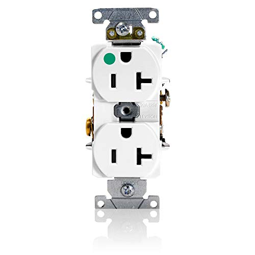 Leviton 8300-HW 20-Amp, 125-Volt, Heavy Duty Hospital Grade, Duplex Receptacle, Straight Blade, Self Grounding, White