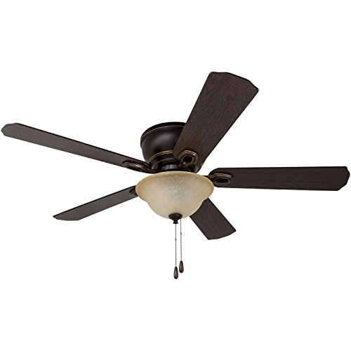 52' Prominence Home Coors Creek, Hugger Ceiling Fan with Remote Control, Oil-Rubbed Bronze