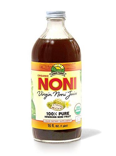 Virgin Noni Juice - 100% Pure Organic Hawaiian Noni Juice - 16oz Glass Bottle