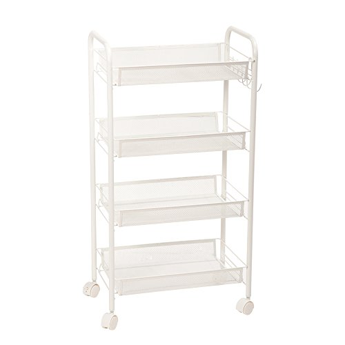 4 Shelf Rolling Cart (Z ZTDM Exquisite Honeycomb Net 4 Tiers Shelves Storage Rolling Utility Cart with Wheels, Large Classics Widen Multi-functional Organizer Portable Stand for Kitchen, Ivory White with Hook)