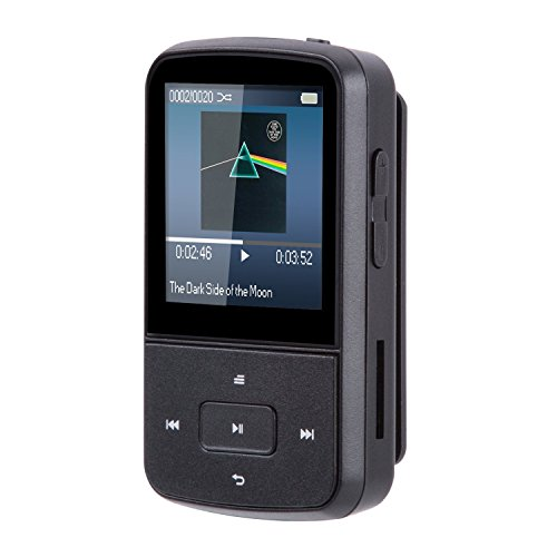 AGPtek G05S- Mini Clip Bluetooth Reproductor de MP3 8 GB TFT Pantalla 1.5 Pulgadas con Radio FM, Color Negro