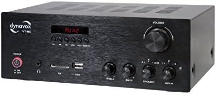 Dynavox Stereo Kompakt Verstärker Vt 80 Schwarz Schraubbare Anschluss Terminals Für 4 Lautsprecher Fernbedienung Für Digital Eingänge Usb Sd Card Integrierte Bt Antenne Musikinstrumente