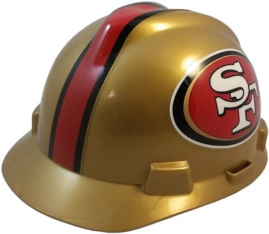 MSA NFL Team Safety Helmets with One-Touch Adjustable Suspension and Hard Hat Tote - San Francisco 49ers
