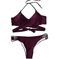 SOLY HUX Women's Sexy Halter Wrap Knotted Back Bikini Set Swimsuit