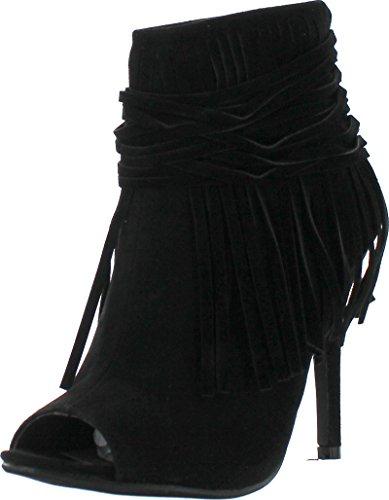 Adriana Hilda-23 Women's Peep Toe Fringe Accents Stlietto Heel Ankle Booties