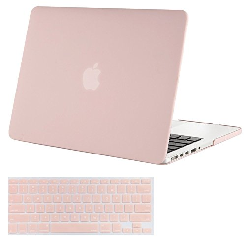 Mosiso Plastic Hard Shell Case with Keyboard Cover Only for MacBook Pro 13 Inch with Retina Display No CD-Rom (A1502/A1425, Version 2015/2014/2013/end 2012), Rose Quartz