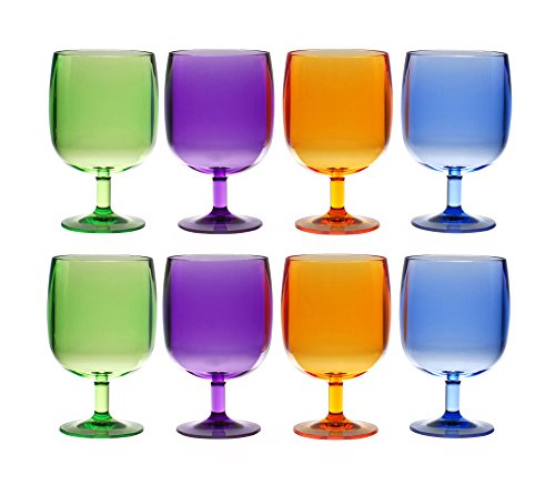 QG Set of 8 Colorful Stackable 12 oz Acrylic Plastic Tumbler Set in 4 Assorted Colors]()