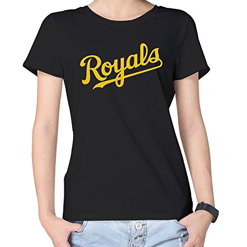 100% Cotton Woman The Golden Kansas Royals T Shirt Black ()