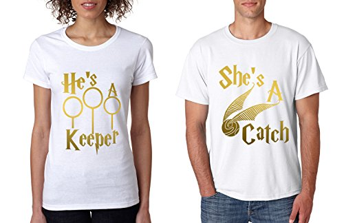 Allntrends Couple T Shirt She's A Catch He's A Keeper Love Gift (Womens M Mens L, White) (Alumni Tee)