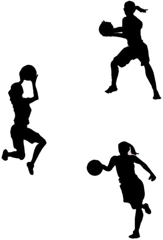 DNVEN 9 inches x 12 inches x 3pcs Set of 3 Women Girls Basketball Player Silhouette Girls Room Removable Wall Decals Stickers Decors