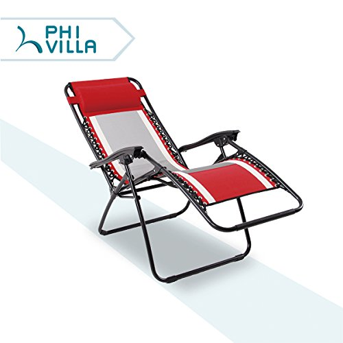 PHI VILLA Mesh Fabric Zero Gravity Lounge Chair Patio Folding Adjustable Recliner for Outdoor Yard Beach, - Recliner Fabric Outdoor