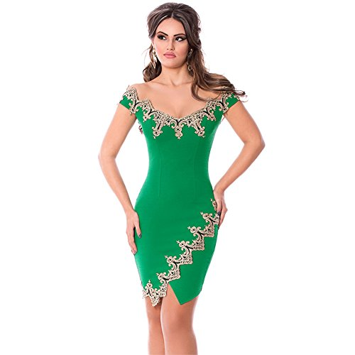 TOREEP Womens Fashion Sexy Gold Lace Applique Off Shoulder Mini Dress(Green,L) (Sexy Maid Lingere)