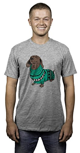 Crazy Dog T-Shirts Mens Wiener Dog In Christmas Sweater Dachshund T Shirt (Grey) (Dachshund Fitted T-shirt)