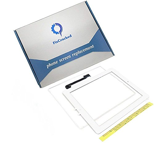 iPad 3 Screen Replacement,iPad 3 Front Touch Digitizer Assembly Replacement Include Home Button +Camera Holder + Adhesive pre-Installed+Middle Frame Bezel (White)