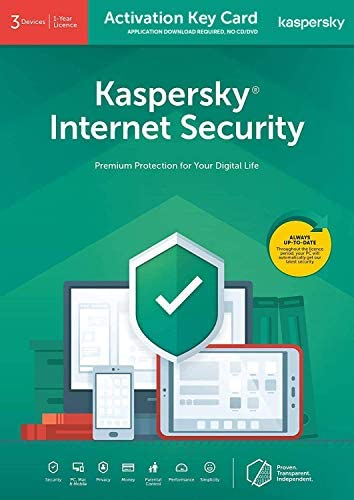 Kaspersky Internet Security 2020   3 Devices   1 Year   PC/Mac/Android   Activation Key Card by Post with Antivirus Software, 360 Deluxe Firewall, Web Monitoring, Total Security VPN, Parental Control