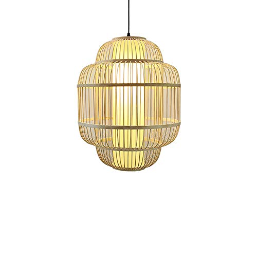 - Bamboo Woven Lantern Handmade Chandelier,LED Chinese Restaurant Parchment Lampshade Antique Pendant Lamp Cage Fixture for Hallway Aisle
